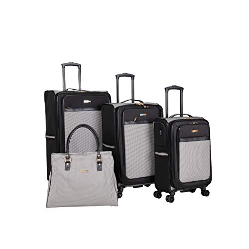 Save %26 Now! Isaac Mizrahi Greenwich 8-Wheel Spinner Luggage (Black White, 4-piece Spinner Luggage ...
