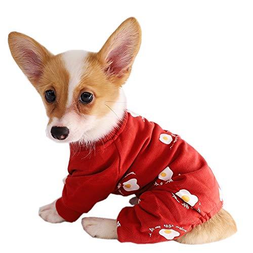 Kitipcoo Hunde-Overall für kleine Hunde, Pochiertes Ei, Bedruckt, kleine Hundekleidung, Hunde-Pyjama für Mops, Bulldogge, Corgi Pudel, M, rot