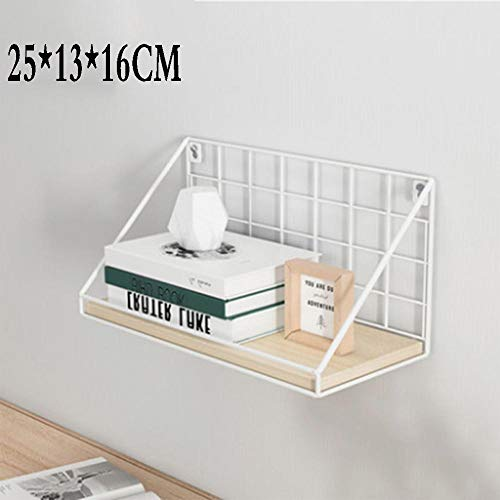 QSAA Restaurant plank muur opknoping decoratie slaapkamer muur woonkamer creatieve Scandinavische smeedijzeren TV muur plank Woord partitie (klein met Guardrail) - esdoorn kersenhout + wit frame