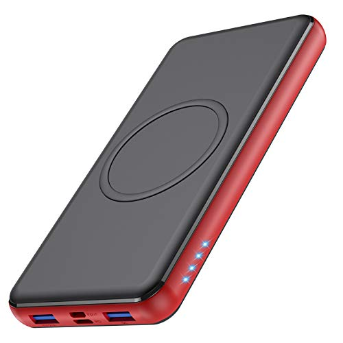 Feob Batería Externa Inalambrica, 26800mAh Power Bank con10W Carga Inalambrica & 18W PD QC 3.0 Bidireccional Carga Rápida, 4 SalidasTipo C Cargador Portátil para iPhone Samsung Android Móviles y más