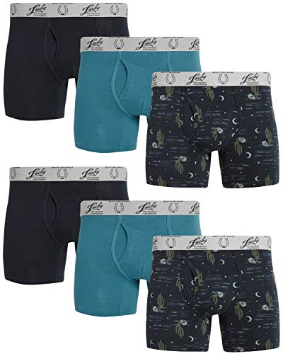 Lucky Brand Men's Cotton Stretch Boxer Briefs with Functional Fly (6 Pack) (Blue/Blue Print, Small)