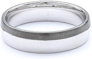 Breuning 18K White & Black Gold Shiny & Matte Finish Wedding Ring [BR6134]