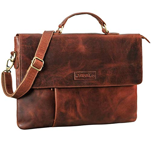 STILORD 'Parker' Business Folder Leather Laptop Case for MacBook Sleeve Slim Briefcase Bag Conference Portfolio A4 Document Organizer Genuine Vintage Leather, Colour:Porto - Cognac