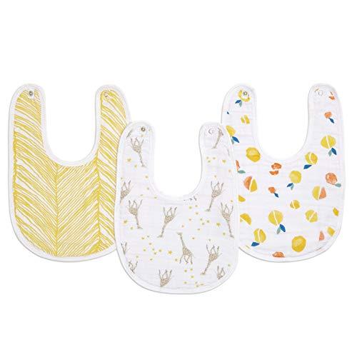 aden + anais essentials - Pack de 3 bavoirs à boutons-pression pour bébé prélavés en mousseline 100% coton - Bavoir absorbant - Ajustable - Garçon - Fille - Imprimé Starry Star - 23 cm x 34 cm