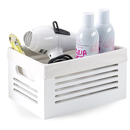 Wooden Storage Bin Container - Decorative Closet Cabinet and Shelf Basket Organizer Lined with Machine Washable Soft Linen Fabric - White Small