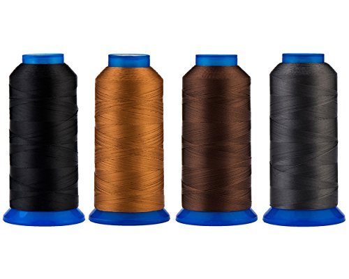 Selric [6000 Yards] UV Resistant High Strength Polyester Thread #69 T70 Size 210D/3 for Upholstery, Outdoor Market, Drapery, Beading, Purses, Leather [Black+Brown+Coffee+Dark Grey]