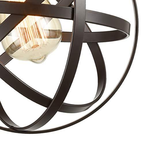 [Upgraded] Dazhuan Antique 1-Light Metal Globe Chandelier with Cage Flush Mount Ceiling Lamp Light Fixture