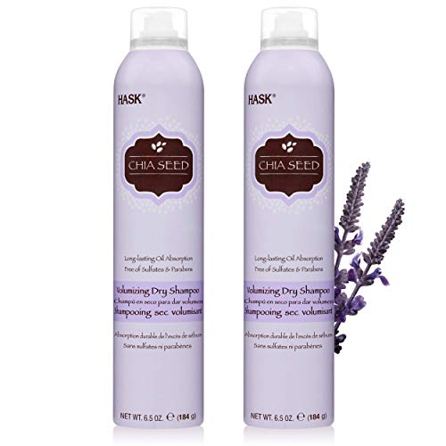 HASK Chia Seed Volumizing Dry Shampoo Kits for all hair types, aluminum free, no sulfates, parabens, phthalates, gluten or artificial colors (6.5oz-Qty2)