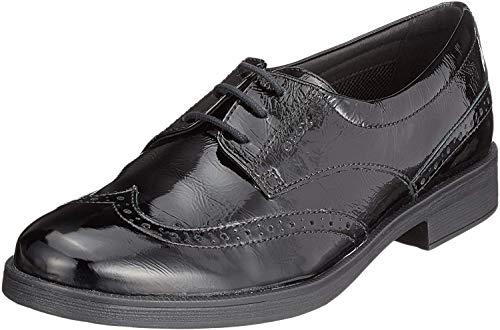 Geox Jr Agata D, Zapatos Cordones Brogue Niñas, Negro
