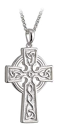 Biddy Murphy Celtic Cross Necklace for Men Sterling Silver Double Sided 24 Inches Chain Made in Ireland