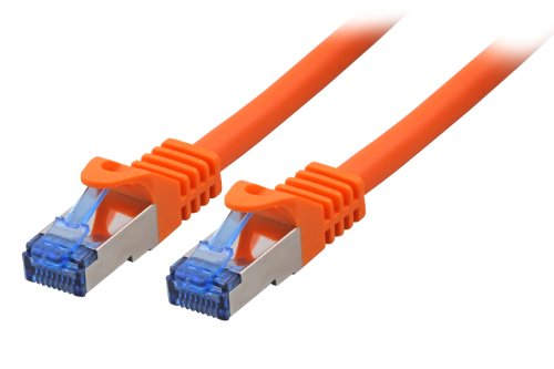BIGtec 50m CAT.7 Patchkabel Netzwerkkabel Gigabit Patch DSL LAN Ethernet Kabel orange Kupferkabel doppelt geschirmt ( RJ45 Stecker Cat-7 S/FTP PIMF )
