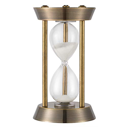 KSMA 5 Minutes Hourglass Sand Timer,Brass-Tone Metal Hour Glass with White Sand