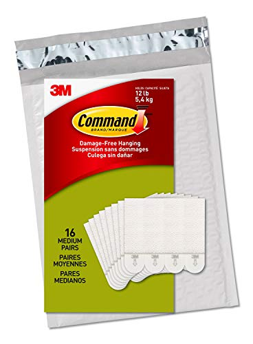 Command Picture Hanging Strips, Medium, White, Holds up to 12 lbs., 16-Pairs (32-Strips), Easy to Open Packaging
