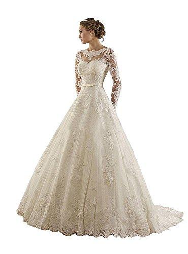 Cloverbridal Elegante Prinzessin Lange ärmel Hochzeitskleid Brautkleid