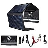 Cargador solar plegable de 28 W, cargador de batería solar portátil, 4 paneles, impermeable, con puertos USB duales para camping, iPhone, iPad, Samsung Galaxy LG teléfonos móviles y dispositivos