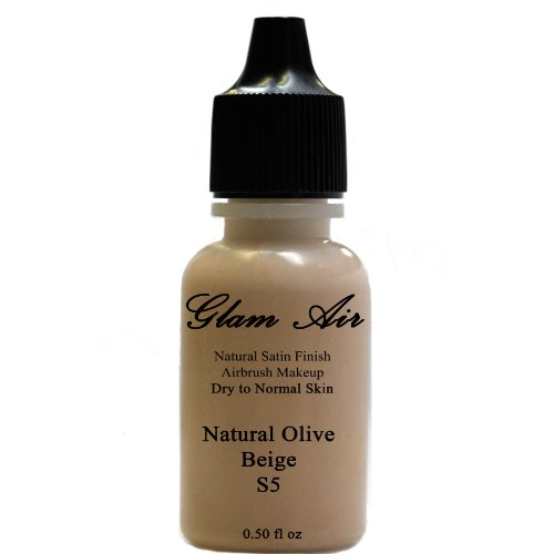 Large Bottle Airbrush Makeup Foundation Satin S5 Natural Olive Beige Water-based Makeup Long Lasting All Day Without Smearing Running, Fading or Cakin
