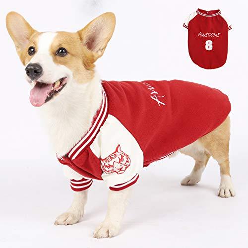 CLDY Maglione per cani, caldo stile baseball, in pile polare con bel ricamo, giacca per cani di piccola e media...