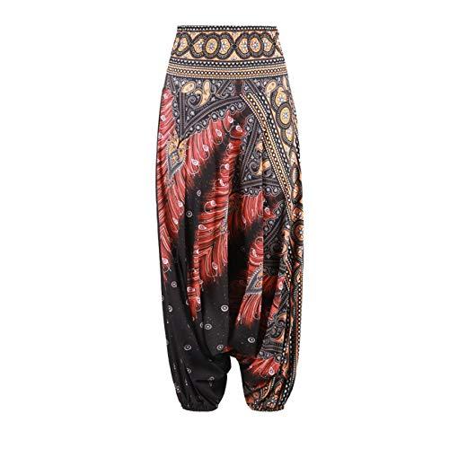 Jiobapiongxin Stilvolle Ethnische Stil 3D Print Indien Bauchtanz Hosen Breites Bein Lose Beiläufige Yoga Hosen Mode Frauen Fitness Hosen (Multicolor) JBP-X