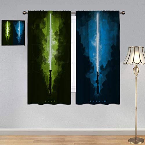 Black Out - Cortinas de sable de luz de Star Wars, Luke & Anakin de eficiencia energética para dormitorio, sala de estar, 150 x 180 cm