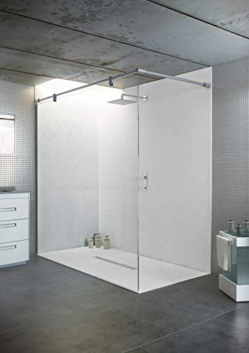 bodengleiche Duschwanne mit Duschrinne 180x100 aus Mineralguss - begehbare Dusche 100x180 - werkseitig einkürzbar