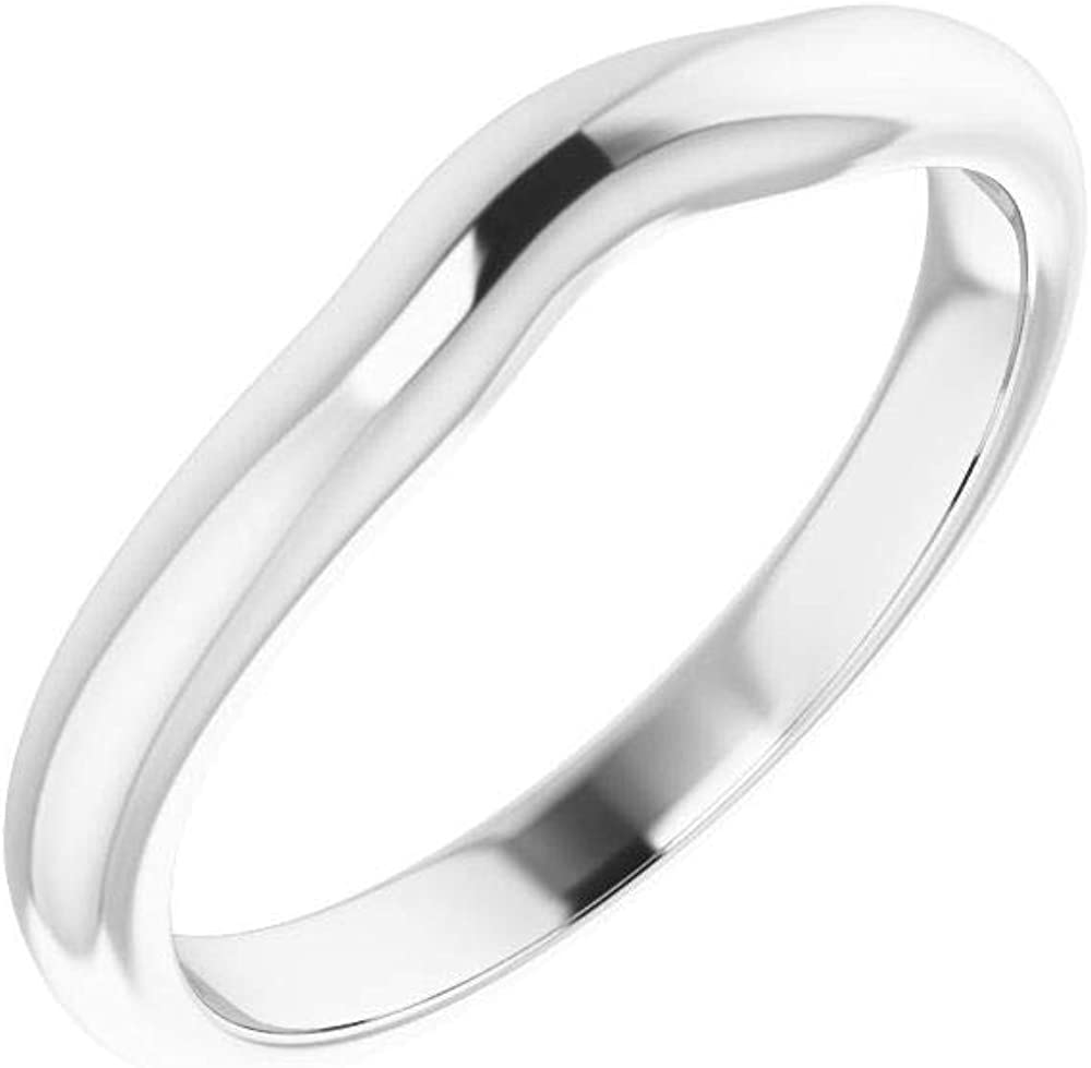 Solid Today's Sale item only 925 Sterling Silver Curved for Band 4 Notched Wedding