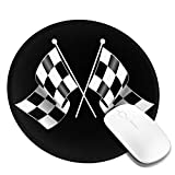 Checkered Flag Logo Mousepad Non-Slip Rubber Gaming Mouse Pad Round Mouse Pads for Computers Laptop