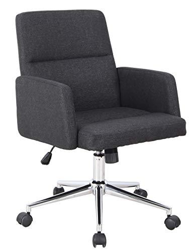 SixBros. Bürostuhl, Schreibtischstuhl mit Armlehne, Drehstuhl für's Büro oder Home-Office, stufenlos höhenverstellbar & leichtläufig, niedrige Rückenlehne, Sitzbezug aus Stoff, schwarz 1320L/8325