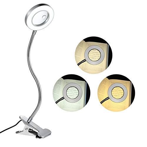 KANINO - Lámpara con Lupa LED, 3X 5X Lupa con Luz de 3 Modos de Color/ 10 Niveles de Brillo, Lámpara de Mesa con Lupa para Coser, Trabajar, Costura, Leer