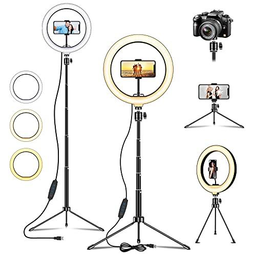 Asnoty Aro de luz LED,10' Anillo de Luz Selfie con Trípode 54.4inch,120 LED 3 Modos 10 Niveles de Luz para TikTok Youtube Instagram Vlog Vídeo Maquillaje Enseñanza