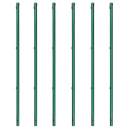 6 x Zaunpfosten Zaunpfahl für Maschendrahtzaun zinkphosphatiert grün kunstoffbeschichtet, 34x1150mm