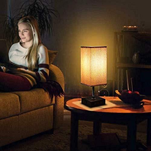 Lámparas de mesita de noche con puerto de carga USB Diseño moderno Base de madera Tela Mesa de noche cuadrada Luz de mesa Dormitorio Iluminación de estudio