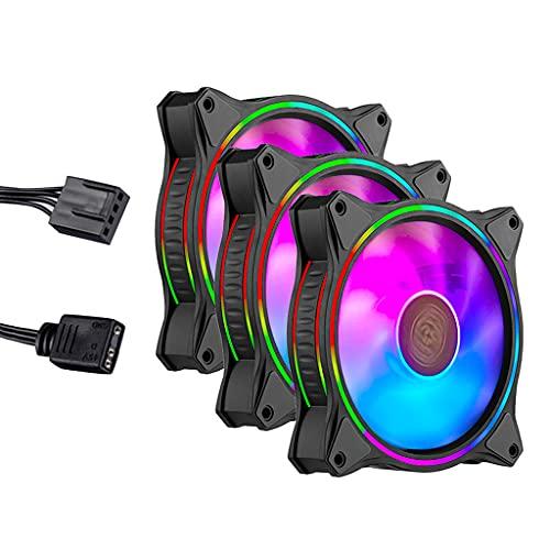 Iluminación RGB direccionable de anillo doble, carcasa y refrigeración Diseño de aspa de ventilador híbrido con protección de sensor de atasco y marco de amortiguación de vibraciones: ventiladores d