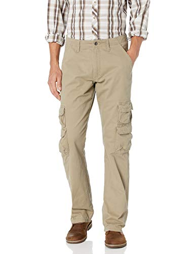 Wrangler Authentics Men's Premium Relaxed Fit Straight Leg Cargo Pant, British Khaki, 42W X 30L