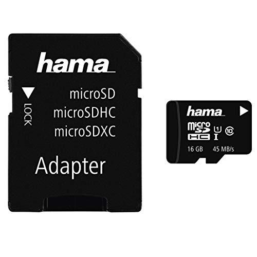 Hama Class 10 microSDHC 16GB Speicherkarte mit Adapter/Mobile (UHS-I, 45Mbps)