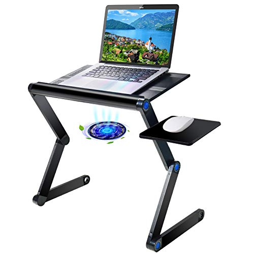 """Upgraded Aluminum Laptop Stand Adjustable with Cooling Fan and Mouse Pad, Reinforced Ergonomic Lap Desk Foldable Portable Computer Table for Bed Sofa Couch Office (Extra Wide Tray: 19"""", Black)"""