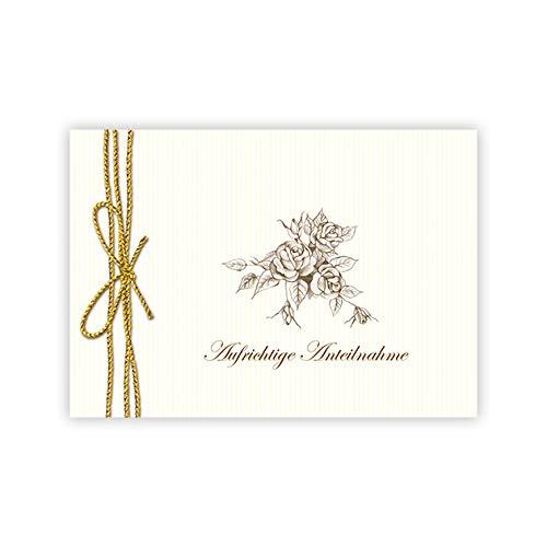 fioniony Trauerkarte Aufrichtige Anteilnahme Trauerkarte/Beileidskarte/Beileid/Trauer/Kondolenzkarte/Grußkarte in Creme, Goldene Kordel (gedruckt) und mit Rosen als Zeichnung (4)