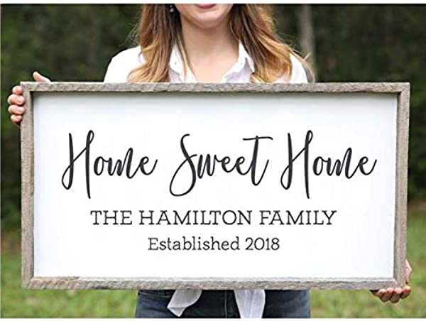 DoreenAbe Personalized Framed Wood Sign Wedding Gift For Couple Home Sweet Home Farmhouse Wood Sign Family Name Signs Custom Name Sign Established Signs Personalized Name Sign