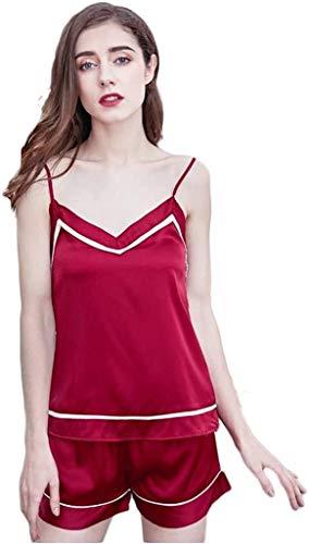 Comfortable Cotton Pajamas Women's Summer Pyjamas Sets Ladies Silk Satin Camisole Sexy Sling Tops and Shorts Fashion Sleepwear (Color : B, Size : Large)