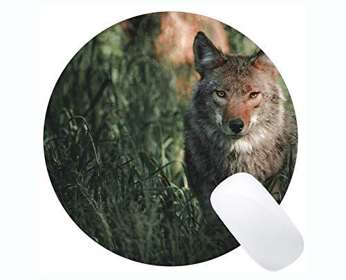 Yanteng Rectangle Round Mouse Pad,Wildlife Predator Wolf Mousepad Nonslip Rubber Backing