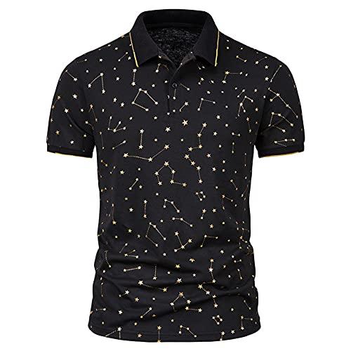 Casuales Camisas Hombre Verano Botón Placket Hombre Polo Shirt Clásica Moda Manga Corta Tradicional Camisa Básica Ligera Transpirable Casual Hombre Shirt F-Black 1 3XL