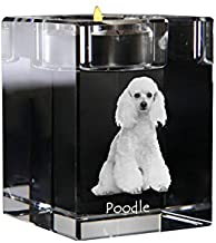 Poodle, Crystal Candlestick, Candle Holder with Dog, Souvenir, Limited Edition