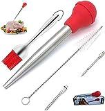 Tokenhigh Turquía Baster Set jeringa para cocinar, acero inoxidable 4 en 1 Turquía Baster silicona salsa cepillo inyector carne y kit de cepillo de limpieza para hogar cocina al aire libre (rojo)