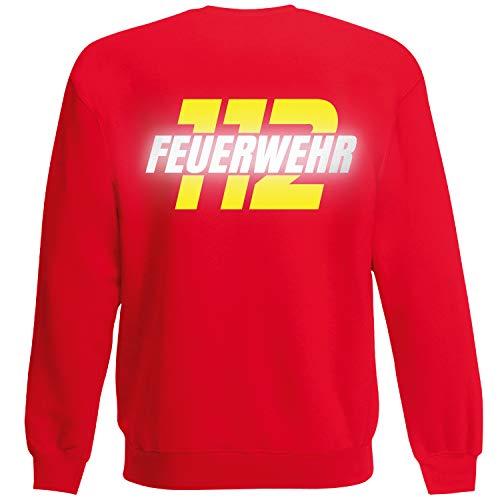 Shirt-Panda Herren Feuerwehr Sweatshirt · Feuerwehr 112 · Feuerwehrmann Sweater Bedruckt · Pullover für Feuerwehrleute · Druck auf Brust & Rücken · Unisex · Rot (Druck Gelb/Reflex) XXL