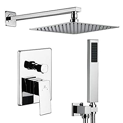 HOMELODY Shower Set Chrome Shower Faucet with 10 Inches Brass Rainfall Shower Head Wall Mounted Rain Mixer Shower Combo Set Bathroom Shower System, Rough-in Valve Body and Trim Included
