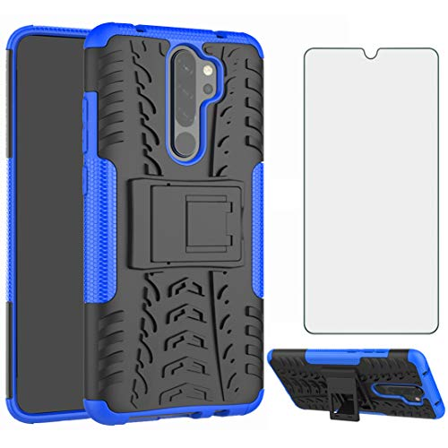 Phone Case for Xiaomi Redmi Note 8 Pro with Tempered Glass Screen Protector Cover Flim and Stand Kickstand Slim Hard Rugged Hybrid Cell Accessories Xiami Xiomis Xiome Redme Note8 8pro Cases Black Blue