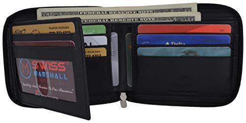Swiss Marshall Men's Zipper RFID Blocking Premium Leather Zip-Around ID Bifold Wallet (Black)