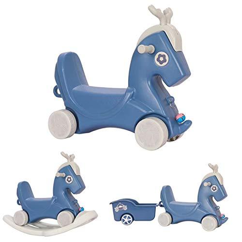 HWZZ Caballo Mecedor 3 En 1 para Niños, Canto con Música, Carrito para Niños, Carruaje De Juguete para Niños, Bicicleta De Equilibrio,Azul