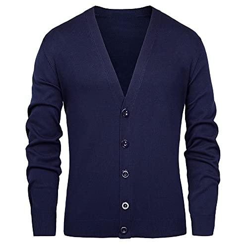 Los hombres de punto abrigos de manga larga con cuello en v color sólido suéteres Outwear