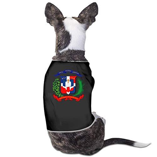 Florasun Camiseta de la bandera de la Repblica Dominicana para mascotas, trajes para cachorros, ropa para perros, chaleco, color negro, L