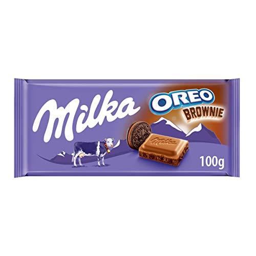 Milka Oreo Brownie - Chocolate con Leche de los Alpes Relleno de Galleta Oreo - Tableta de 100 g